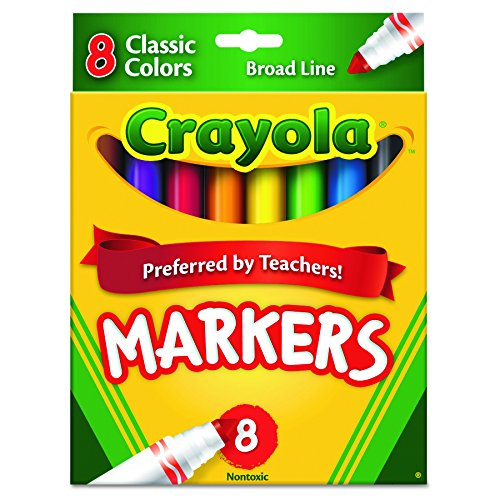 Crayola Non-Washable Markers, Broad Point, Classic Colors, 8/Set ()