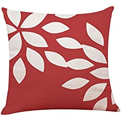 Kemilove Red Geometry Leaves Cushion Covers Pillowcases