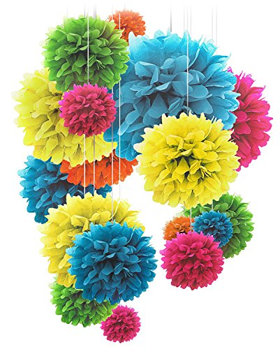 Voplop Paper Pom Poms - 20 pcs of 8, 10, 14 Inch - Paper Flowers - Perfect For Wedding Decor - Birthday Celebration - Table and Wall Decoration (Multi colored)