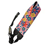 Xinlink Clip On Ukulele Neck Strap Cute Cartoon Flowers Pattern for Youth Children Small Acoustic Folk Hawaiian Guitar (Pink)