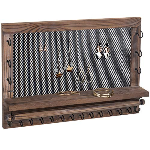 MyGift Wall-Mounted Wood Jewelry Rack with Perforated Earring Panel, Necklace & Bracelet Hooks, Removable Bar