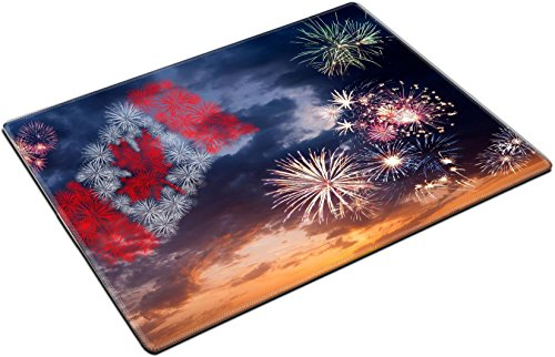Msd Place Mat Non Slip Natural Rubber Desk Pads Design 20198556 Beautiful Colorful Holiday Fireworks With National Flag Of Canada Evening Sky