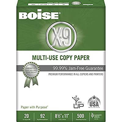 Boise X-9 Multipurpose Paper, Letter, 20lb, 92-Bright, 10 Reams of 500 sheets - 2 Pack