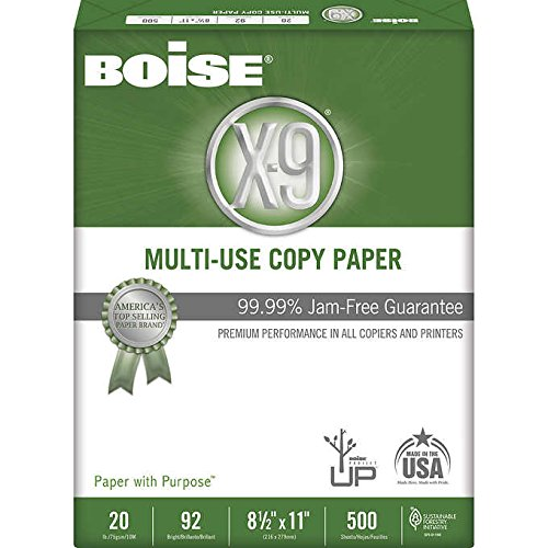 Boise X-9 Multipurpose Paper, Letter, 20lb, 92-Bright, 10 Reams of 5000 Sheets