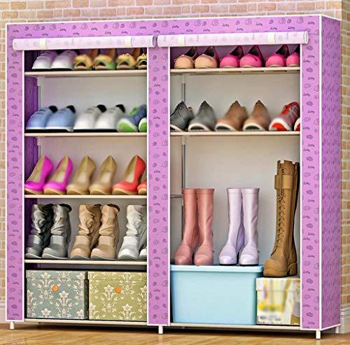 Simple Zapato Gabinete Hierro Forjado Multi-Capa Asamblea Doble Fila Almacenamiento A Prueba De Polvo Zapato Rack Simple...
