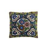 Mogul Decorative Floor Cushion Cover Bold Embroidered Multi Colour Sofa Decor Pillow Case 16X16 (Green)