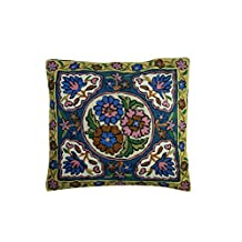 Mogul Decorative Floor Cushion Cover Bold Embroidered Multi Colour Sofa Decor Pillow Case 16X16 (Green)