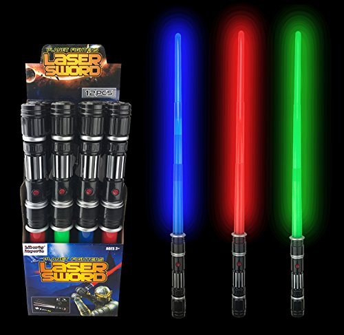 Liberty Imports [Value Bundle] 12 Pack LED Laser Swords Expandable LED Light Up Sabers with FX Sound Effects -