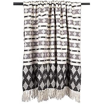 DII Classic Colby Southwest Cotton Handwoven Stripe Blanket Throw with Fringe for Chair, Couch Picnic, BBQ, Camping, Beach, 50 x 60, Black/Gray