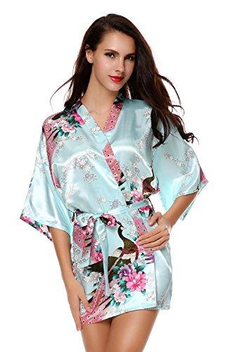 Hufcor Women Lightweight Short Waffle Kimono Bridesmaids Spa Robe For Home