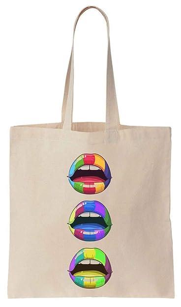 Pop Art Colorful Lips Cotton Canvas Tote Bag: Amazon.es ...