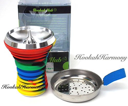 The HOOKAH HUB RASTA Shisha Bowl Silicone with Metal Screen Vortex Wind Cover Charcoal Screen RED YELLOW GREEN BLUE BLACK