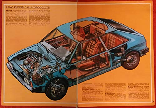 (1974 VOLKSWAGEN SCIROCCO TS SPORT COUPE GHOST VIEW LARGE VINTAGE COLOR PAGES/AD - FRENCH - NICE ORIGINAL)