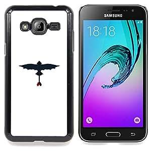 "Qstar Arte & diseño plástico duro Fundas Cover Cubre Hard Case Cover para Samsung Galaxy J3(2016) J320F J320P J320M J320Y (Dragon volador"")"