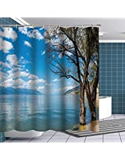 Btty Shower Curtain Natural Scenery Ins Style Lake Connacts with Blue Sky with White Clouds Flowing on Bathroom Fabric Natural Scenery Decoration,Polyester Waterproof Mildew Resistant Kitchen Curtain Bedroom Curtain Shower Curtain with Hooks for Kids Adult