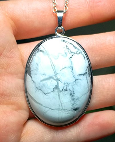 1 Pcs 2'' Hand Carved Natural Gemstone Jewllery Pendant with Sliver Chain,DIY Accessory for Necklace (White ()