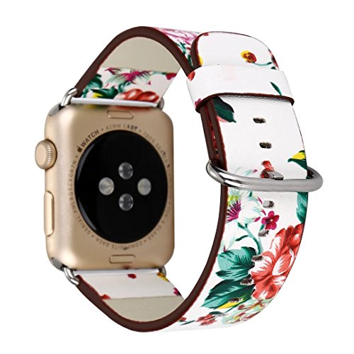 TCSHOW For Apple Watch Band 42mm,42mm Soft PU Leather Pastoral/Rural Style Replacement Strap Wrist Band with Silver Metal Adapter for both