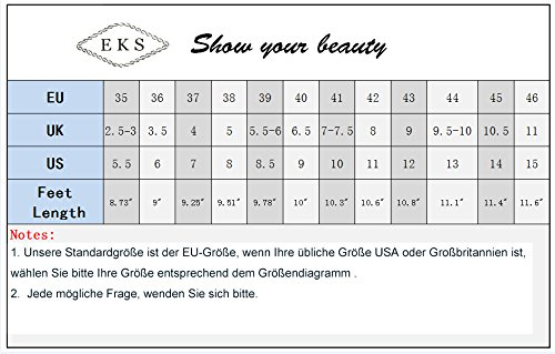 EKS Damen Fllosacf Patch Arbeitskante mit Nieten Stollen High Heels Pointed Toe Pumps Kleid Schuhe Plus Size EU 35-46 Natural-Lackleder