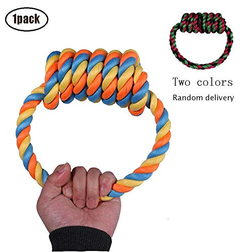 Ytf Dog Rope Toy for Huskies,Dog Rope Ring Toy,Durable,Cotton and Linen chew Dog Rope Toys,Long Interactive Dental Floss, for Small/Medium Sized -