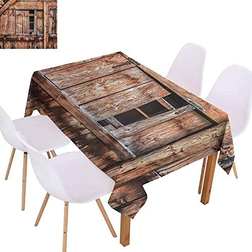 Marilec Waterproof Tablecloth Rustic Abandoned Damaged Oak Barn Door with Iron Hinges and Lateral Cracks Knock Theme Table Decoration W70 xL84 Pale Rosewood (Oval Rosewood Mix)