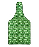 Lunarable Poker Cutting Board, Geometric Background Full of Squares with Card Symbols in Doodle Style, Decorative Tempered Glass Cutting and Serving Board, Wine Bottle Shape, Fern Green Pale Green