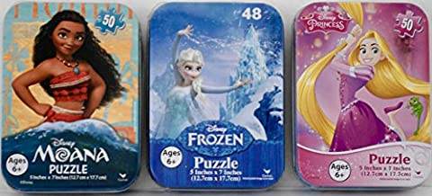 3 Disney Princess Mini Puzzles in Tin Cases Bundle: Moana, Tangled Rapunzel, Frozen Elsa - 50 & 48 Pieces per Puzzle Girls - Mini Tin Case