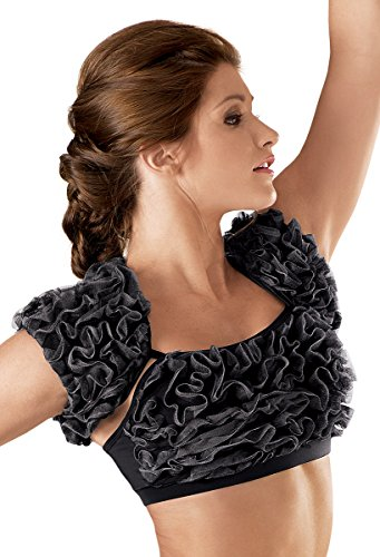 [Balera Dance Costume Ruffled Mesh Shrug Black Child Large] (Dance Costumes Kids Jazz)