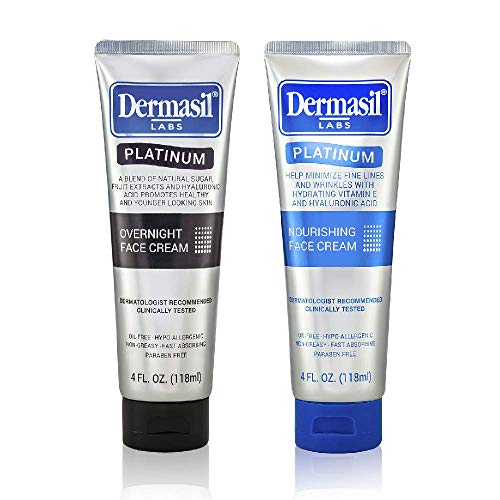 519hSztMp5L - Advanced Day & Over Night Face Cream Dermasil Platinum Dermatologist Recommended Anti-Aging Treatment, Nourishing & Moisturizing 2-in-1 Relief, Protection & Repair Cream for Dry Skin (Pack of 2)
