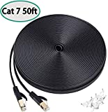 DEEGO Cat7 Ethernet Cable 50 FT High Speed Long Lan Cable Flat Network Patch Cable with Clips Faster Than Cat6 Cat5e, Shielded RJ45 Connectors for PS4,Gaming, Ethernet Switch, Modem,Router,Black