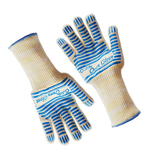 Gulife Oven Glove Withstands Heat Up to 662F Over 15S - EN407 Standard Level3,BBQ Glove (Gift Packaging, Extra Long 1 - Arm Mm Set 170