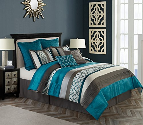Nanshing AVALON8-Q-GRY Avalon Collection Bedroom Comforter Complete 8 Piece Set, Queen, Peacock/Grey ()