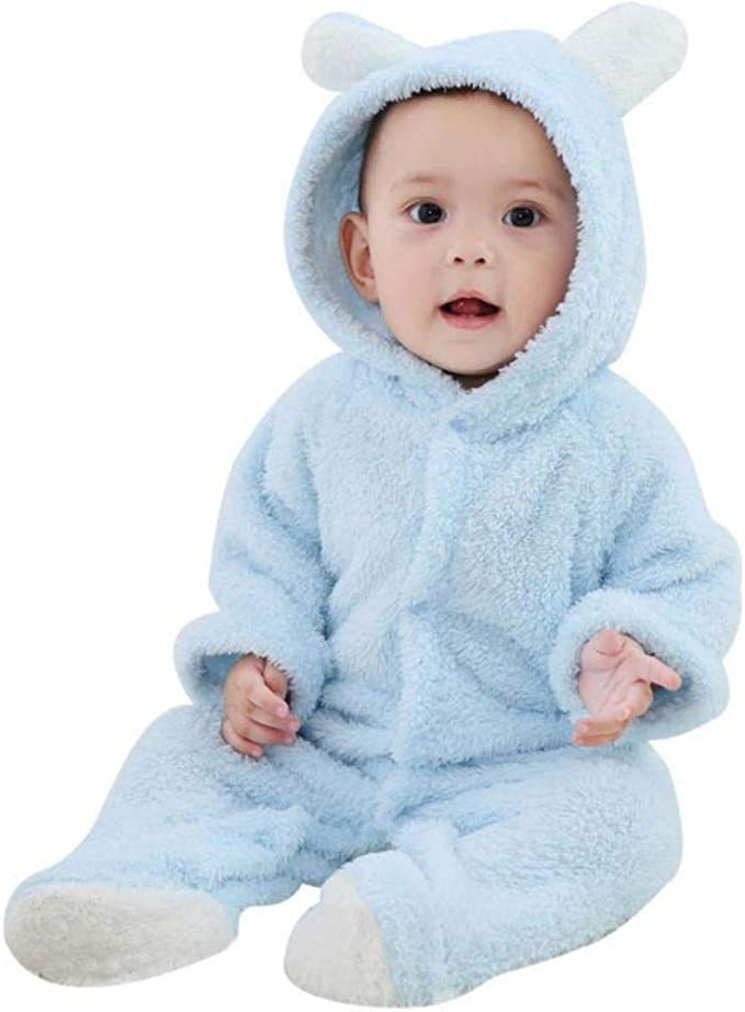 UK Newborn Infant Baby Boy Girl Fluffy Winter Top Pants Outfit Set Warm Clothes