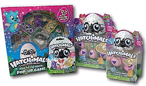 Hatchimals CollEGGtibles Pop-Up Game 4-Pack + Bonus, 2-Pack + Nest, and 1 Blind bag, Plus Nozlen Toy Bag Bundle