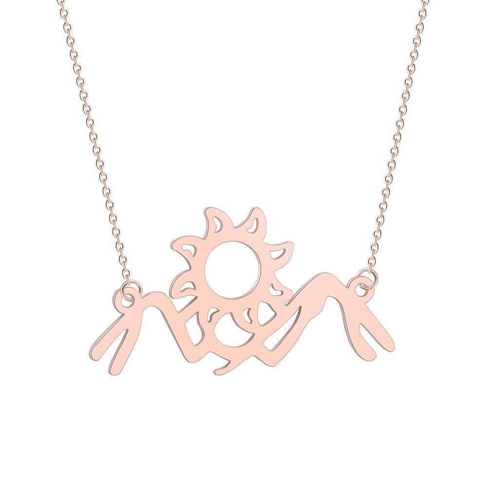 NOUMANDA Mountain Sun Necklace Sunrise Sunset Landscape Pendant Fashion Simple Style Jewelry