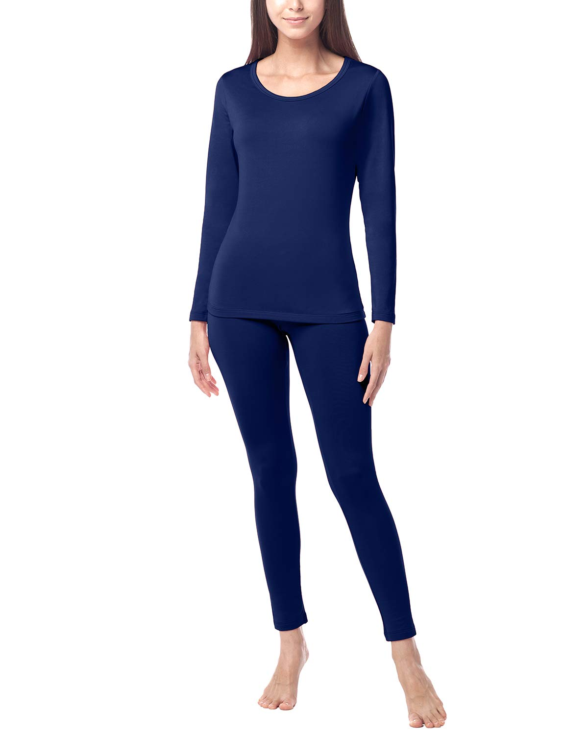 LAPASA Women's Lightweight Thermal Underwear Long John Set Fleece Lined Base Layer Top and Bottom L17 (XX-Large, Navy) by LAPASA