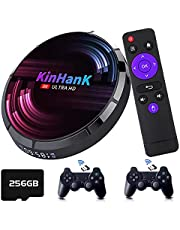 Kinhank Super Console X Max Retro Video Game Console with 50000+ Games,EmuELEC 4.2/Android 9.0/CoreELEC 3 Systems in 1,4K UHD Output,Support PS1/PSP/DC/SEGA Saturn, 2.4G+5G Dual Band WiFi(256GB)