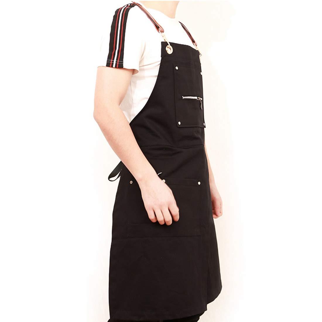 FREAHAP R Tablier de Cuisine Homme Femme Tablier de Travail R/églable Sangles Crois/ées avec Poche pour Barbier Peintre Artisan Jardinier Coiffeur Styliste Barista 80x60cm