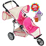 Exquisite Buggy, TWIN DOLL Stroller with Diaper Bag and Hot Pink/Off White Design With 2 FREE Magic Bottles