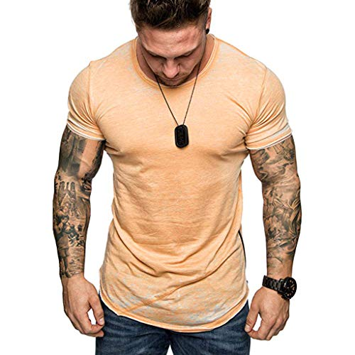 Fashion New Mens Round Neck Solid Loose Casual Short Sleeve Top Blouse T-Shirt Simple Basic Orange