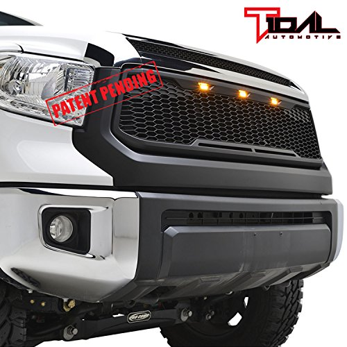 Tidal Replacement Tundra ABS Grille Upper Front Hood Grill - Matte Black - With Amber LED Lights for 14-18 Toyota Tundra