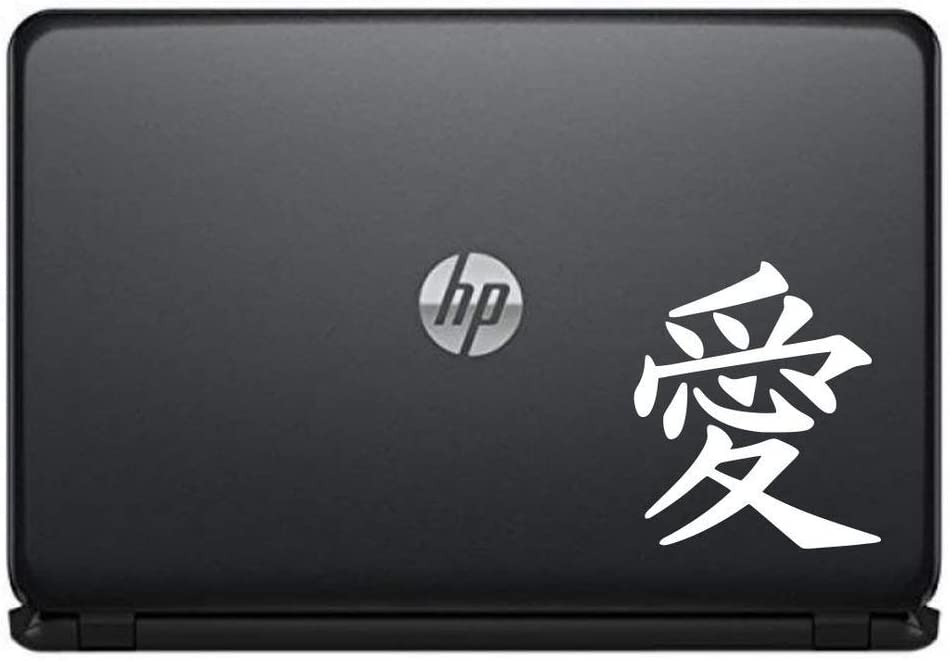 Chinese Love Calligraphy Character Vinyl Decal Sticker for Computer MacBook Laptop Ipad Electronics Home Window Custom Walls Cars Trucks Motorcycle Automobile and More (White)