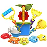 GrowthPic 11 Piece Beach Toy and Castle Mold Set for Kids with Water Sand Wheel, Watering Can, Bucket, Shovel, Rake, Rolling Rake, Molds for Toddlers, Sandbox Toys