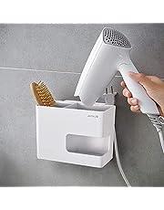 JOMOLA Hair Dryer Holder Rack Wall Mounted Adhesive Styling Tool Organizer Storage for Blow Dryer Storage Basket for Kitchen Plastic White