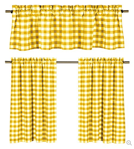 (GoodGram 3 Pc. Plaid Country Chic Cotton Blend Kitchen Curtain Tier & Valance Set - Assorted Colors (Yellow))