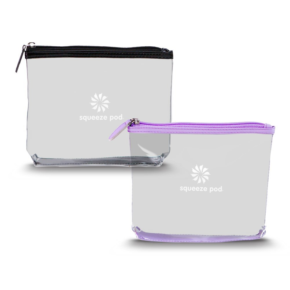 Squeeze Pod TSA Approved Clear Toiletry Bag, Small Quart Size Carry On Bag for Travel Size Toiletries Cosmetics – Durable PVC Plastic with Heavy Duty Zipper, Black Purple Trim, Pack of 2 CTBPB