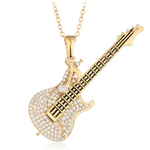 HONGYE Gold Plated and Silver Plated AAA Cubic Zirconia Crystal Guitar Pendant Necklace for Women