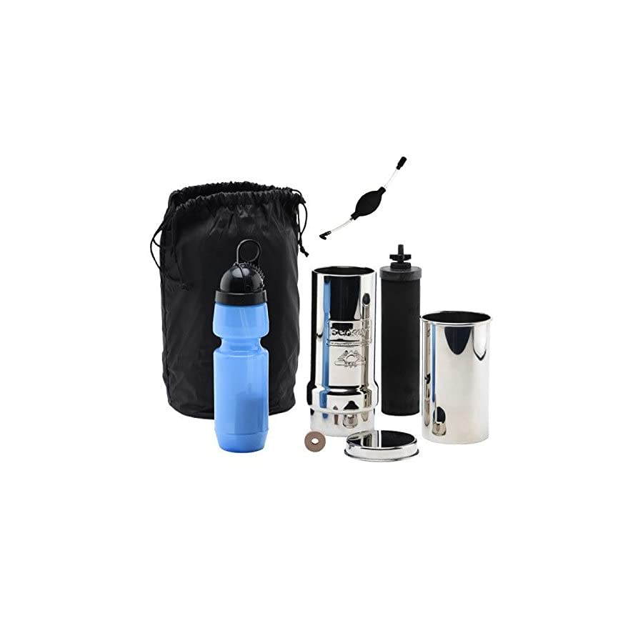 Go Berkey Kit: Includes Stainless Steel Portable Water Filter System / Sport Berkey Water Bottle (Filter included) / Black Berkey Primer / Vinyl Black Carrying Case