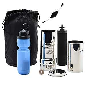 Go Berkey Kit: Includes Stainless Steel Portable Water Filter System / Sport Berkey Water Bottle (Filter included) / Black Berkey Primer / Vinyl Black Carrying Case