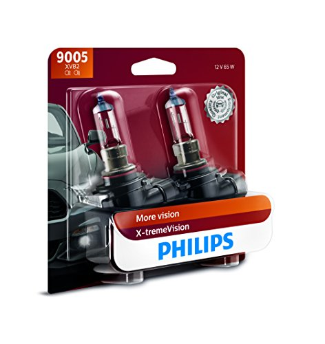 (Philips 9005 X-tremeVision Upgrade Headlight Bulb with up to 100% More Vision, 2 Pack)