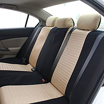 Fh Group Universal Fit Full Set Trendy Elegance Car Seat Cover, (Beigeblack) (Fh-fb060115, Airbag Compatible & Split Bench, Fit Most Car, Truck, Suv, Or Van) 3